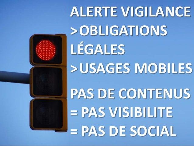 ALERTE VIGILANCE >OBLIGATIONS LÉGALES >USAGES MOBILES PAS DE CONTENUS = PAS VISIBILITE = PAS DE SOCIAL