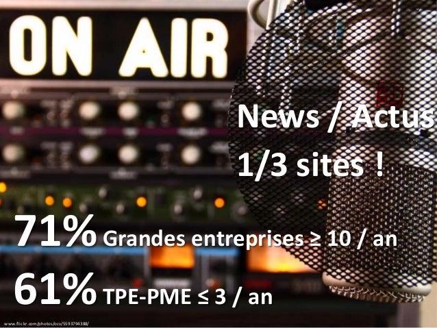 www.flickr.com/photos/ocv/5593794388/ News / Actus 71%Grandes entreprises ≥ 10 / an 61%TPE-PME ≤ 3 / an 1/3 sites !