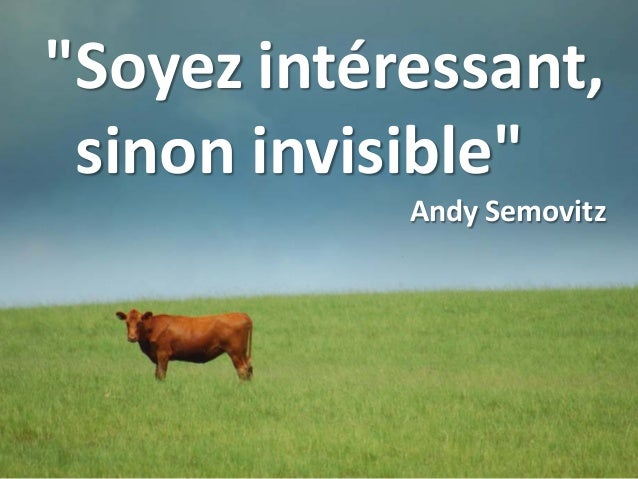 """Soyez intéressant, sinon invisible"" Andy Semovitz"