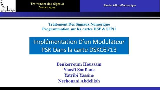 Traitement des Signaux  Numériques  Master Microélectronique  Traitement Des Signaux Numérique  Programmation sur les cart...