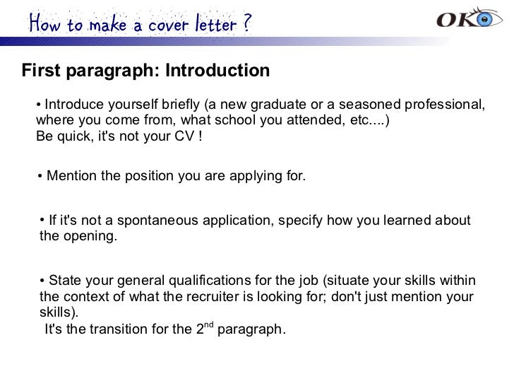 Introducing Yourself In A Cover Letter