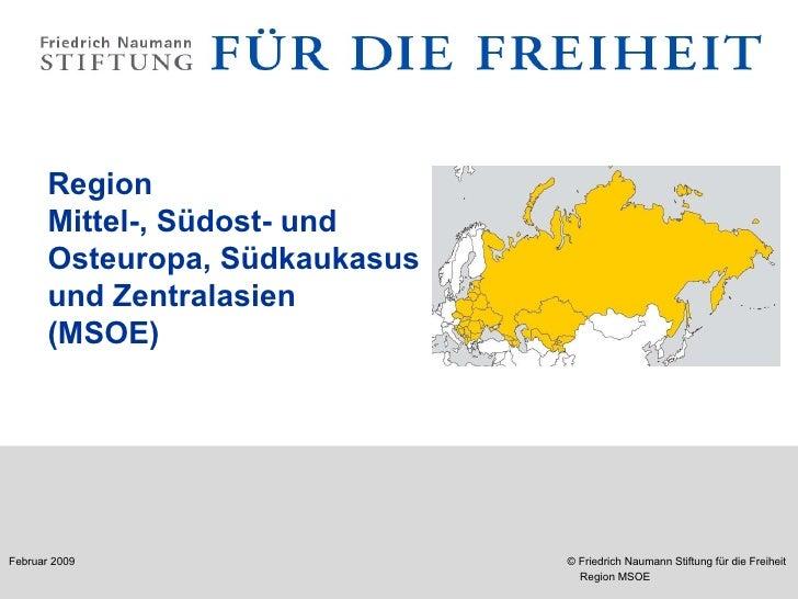 Region Mittel-, Südost- und  Osteuropa, Südkaukasus  und Zentralasien  (MSOE)