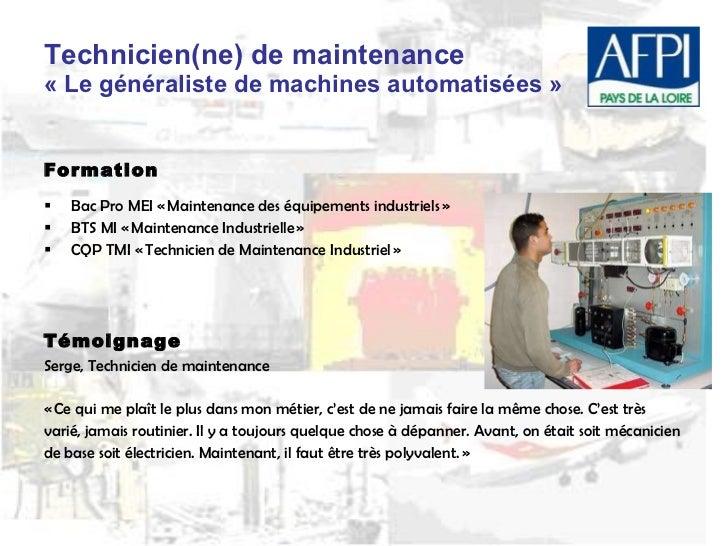 Pr sentation m tiers industrie - Grille salaire technicien maintenance industrielle ...