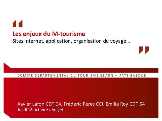 Les enjeux du M-tourismeSites Internet, application, organisation du voyage…  C O M I T É D É PA R T E M E N TA L D U T O ...