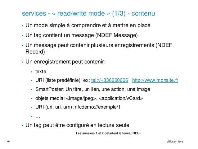 services - « read/write mode » (1/3) - contenu        Un mode simple à comprendre et à mettre en place        Un tag con...