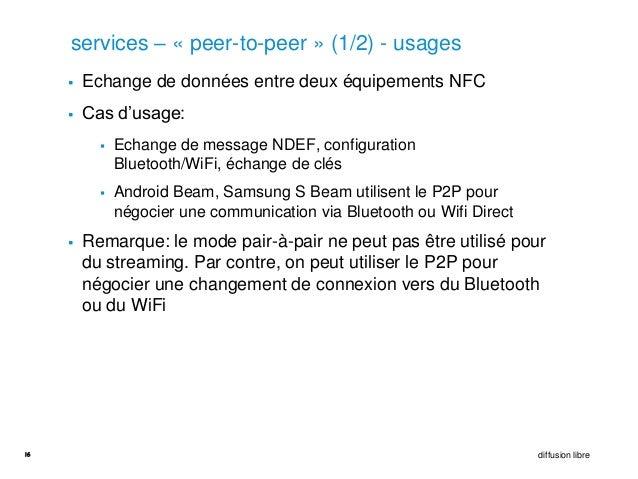 services – « peer-to-peer » (1/2) - usages        Echange de données entre deux équipements NFC        Cas d'usage:     ...