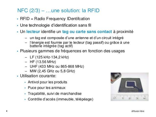 NFC (2/3) – …une solution: la RFID       RFID = Radio Frequency IDentifcation       Une technologie d'identification san...