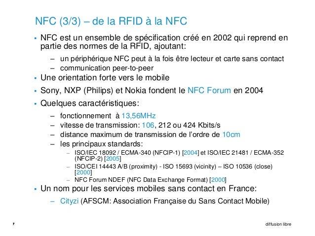 NFC (3/3) – de la RFID à la NFC       NFC est un ensemble de spécification créé en 2002 qui reprend en        partie des ...