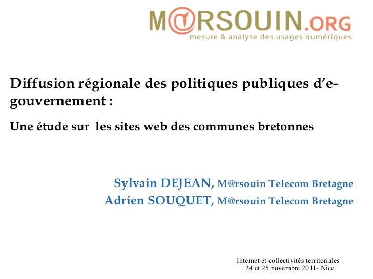 Diffusion régionale des politiques publiques d'e-gouvernement:  Une étude sur  les sites web des communes bretonnes   Syl...