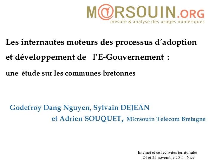 Les internautes moteurs des processus d'adoption et développement de  l'E-Gouvernement  :   une   étude sur les communes ...