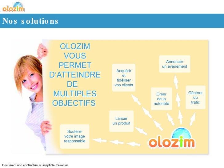 Nos solutions Document non contractuel susceptible d'évoluer