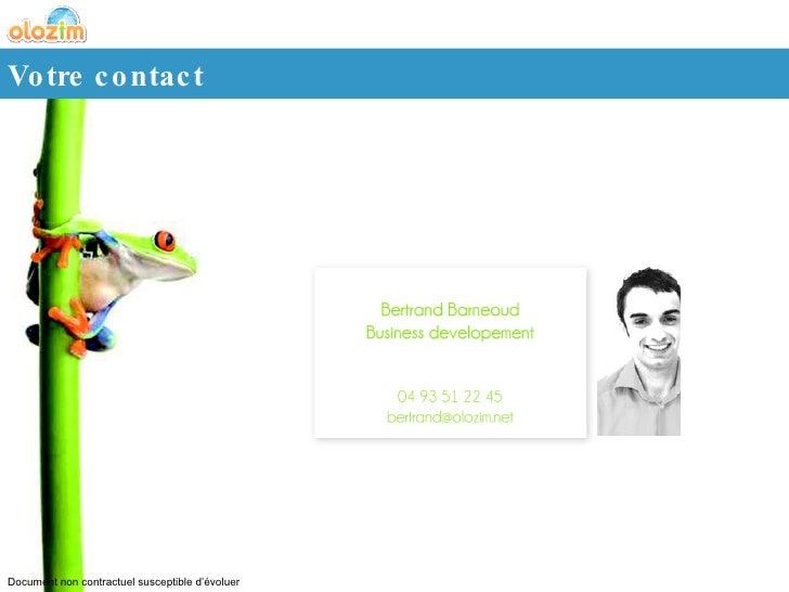 Votre contact Document non contractuel susceptible d'évoluer