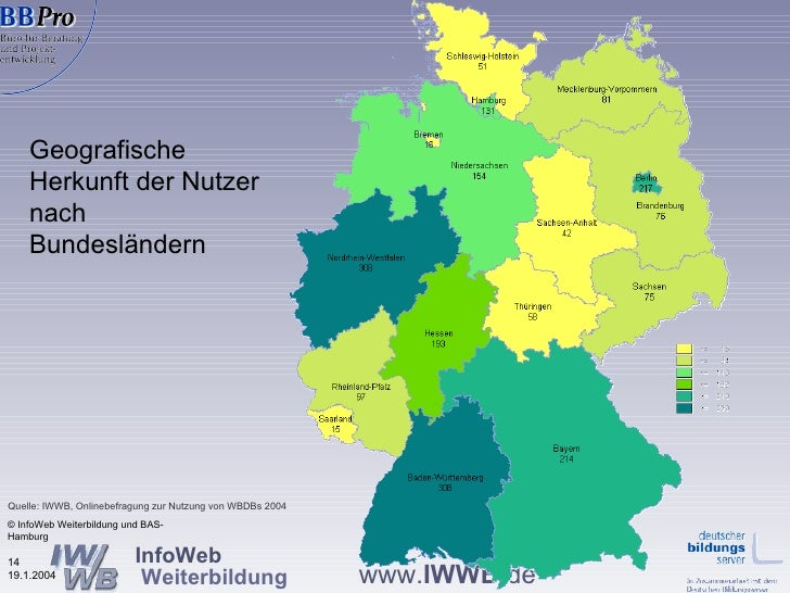 Geografische Herkunft der Nutzer nach Bundesländern   © InfoWeb Weiterbildung und BAS-Hamburg Quelle: IWWB, Onlinebefragun...