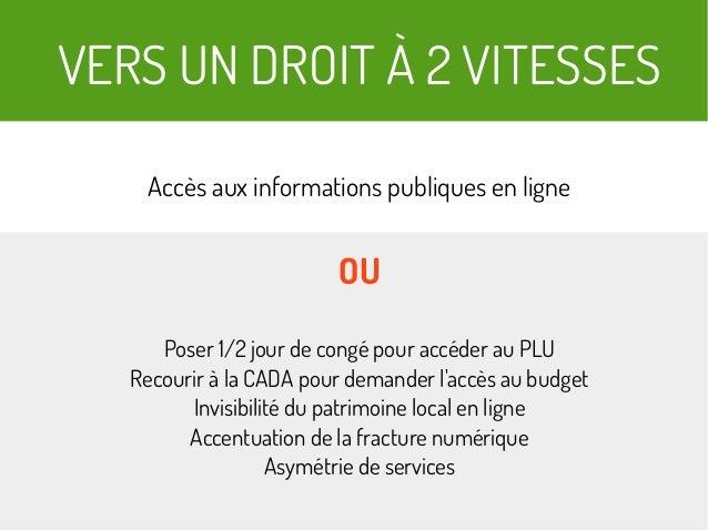 VERS UN DROIT À 2 VITESSES Accès aux informations publiques en ligne OU Poser 1/2 jour de congé pour accéder au PLU Recour...