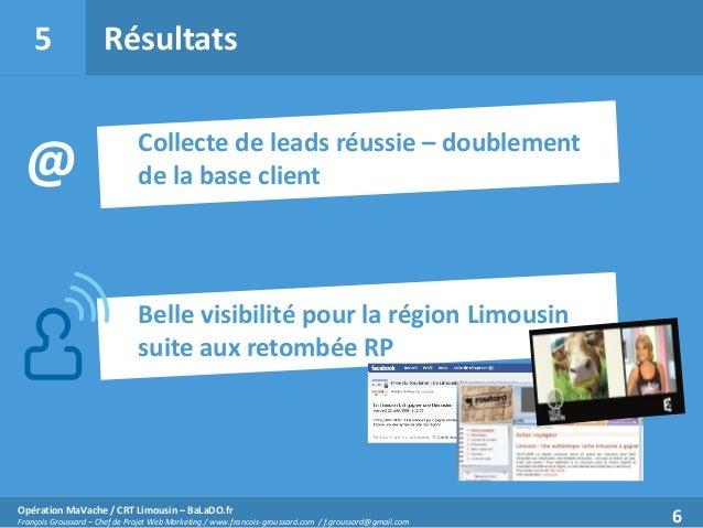 5  @  Résultats Collecte de leads réussie – doublement de la base client  Belle visibilité pour la région Limousin suite a...