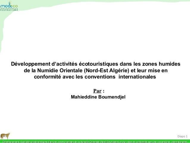 Développement d'activités écotouristiques dans les zones humides de la Numidie Orientale (Nord-Est Algérie) et leur mise e...