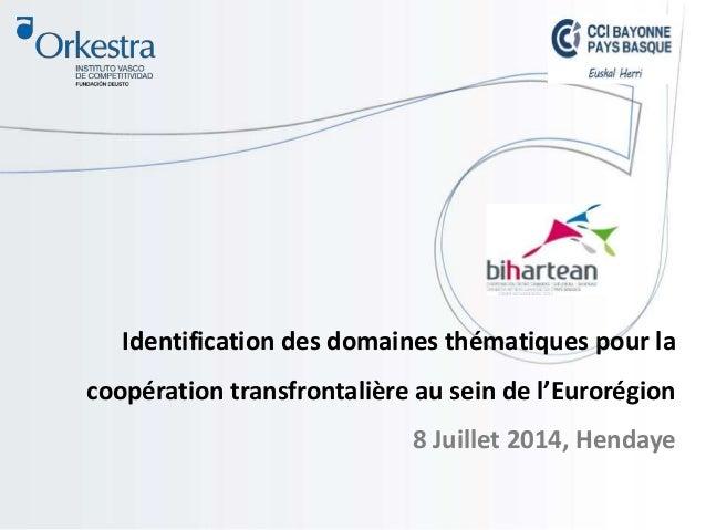 Identification des domaines thématiques pour la coopération transfrontalière au sein de l'Eurorégion 8 Juillet 2014, Henda...