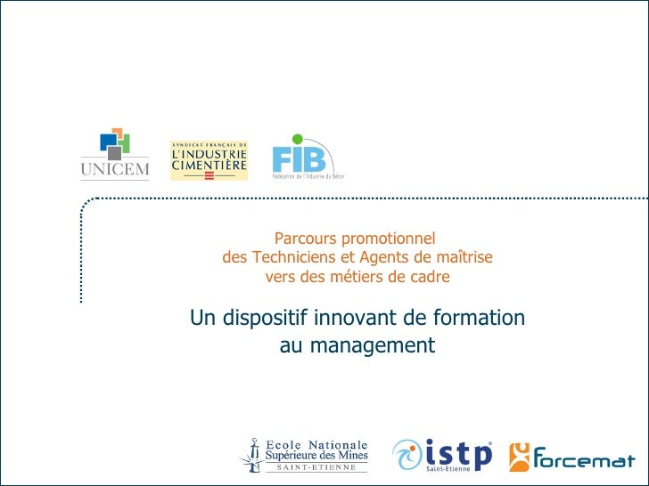 Parcours promotionnel  des Techniciens et Agents de maîtrise vers des métiers de cadre Un dispositif innovant de formation...