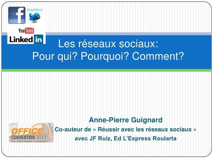 Les réseaux sociaux:Pour qui? Pourquoi? Comment?               Anne-Pierre Guignard    Co-auteur de « Réussir avec les rés...