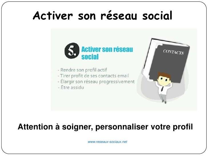 Activer son réseau socialAttention à soigner, personnaliser votre profil                  www.reseaux-sociaux.net