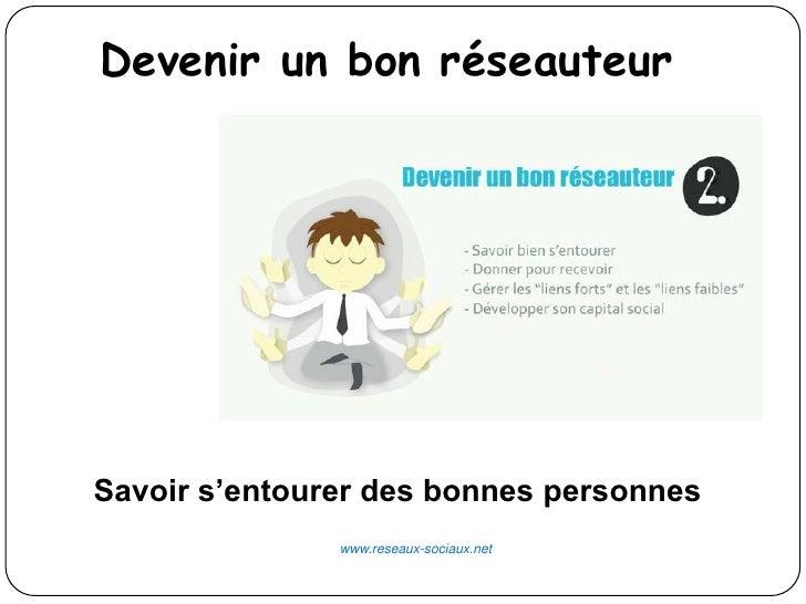Devenir un bon réseauteurSavoir s'entourer des bonnes personnes               www.reseaux-sociaux.net