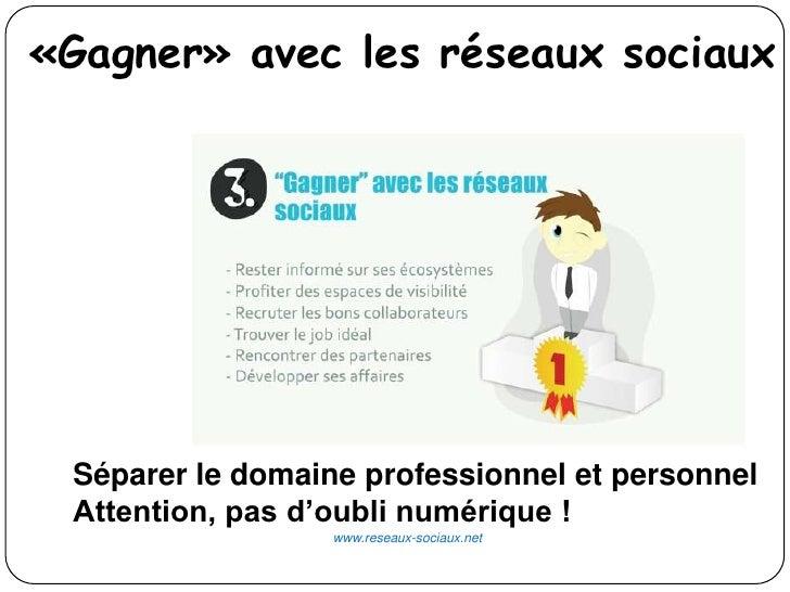 «Gagner» avec les réseaux sociaux Séparer le domaine professionnel et personnel Attention, pas d'oubli numérique !        ...