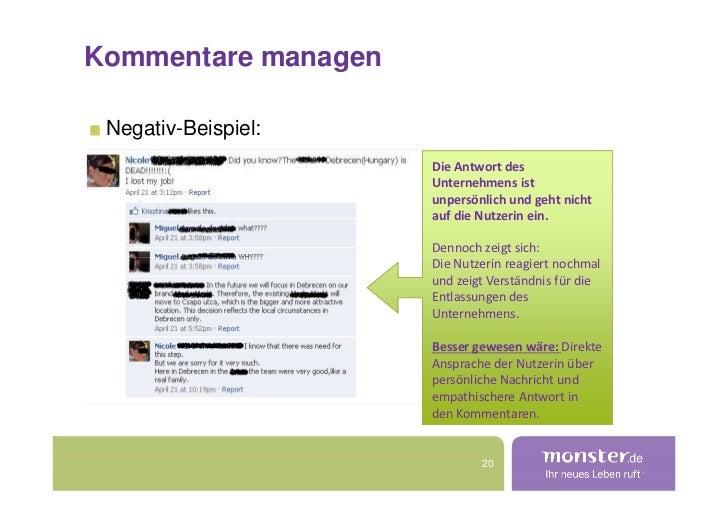 Kommentare managen   Negativ-Beispiel:                      Die Antwort des                      Unternehmens ist         ...