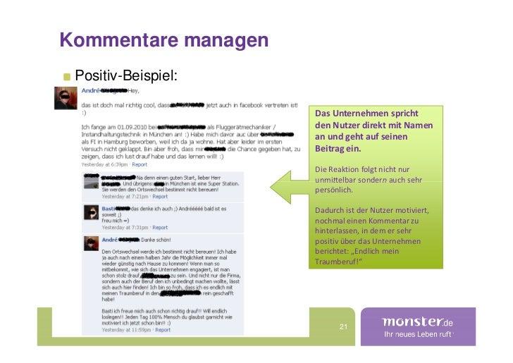 Kommentare managen  Positiv-Beispiel:                       Das Unternehmen spricht                      den Nutzer direkt...