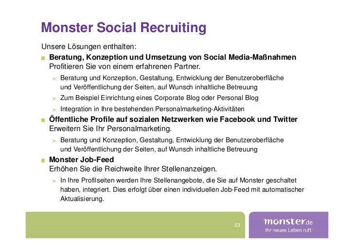 Monster Social Recruiting Unsere Lösungen enthalten:   Beratung, Konzeption und Umsetzung von Social Media-Maßnahmen   Pro...