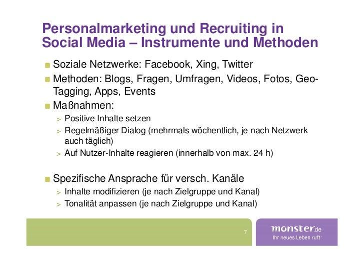 Personalmarketing und Recruiting in Social Media – Instrumente und Methoden  Soziale Netzwerke: Facebook, Xing, Twitter  M...