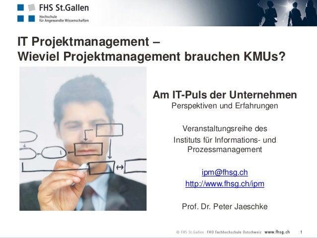 IT Projektmanagement – Wieviel Projektmanagement brauchen KMUs? Am IT-Puls der Unternehmen Perspektiven und Erfahrungen Ve...