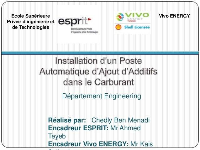 Département Engineering Ecole Supérieure Privée d'ingénierie et de Technologies Vivo ENERGY Réalisé par: Chedly Ben Menadi...