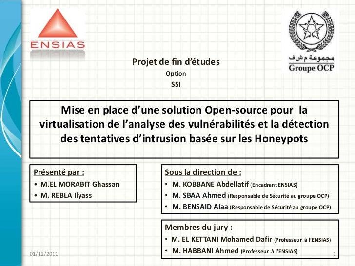 Projet de fin d'études                                  Option                                    SSI        Mise en place...