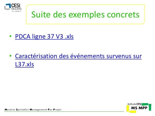 Suite des exemples concrets  • PDCA ligne 37 V3 .xls  • Caractérisation des événements survenus sur  L37.xls  Mastère Spéc...