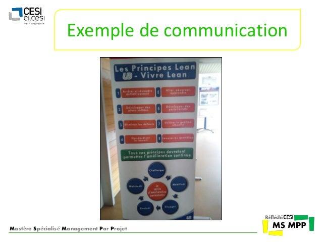 Exemple de communication  Mastère Spécialisé Management Par Projet