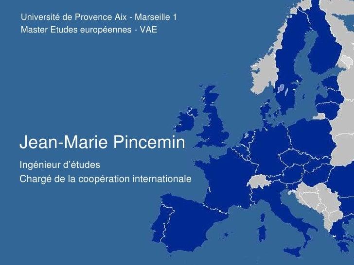 Université de Provence Aix - Marseille 1<br />Master Etudes européennes - VAE<br />Jean-Marie Pincemin<br />Ingénieur d'ét...