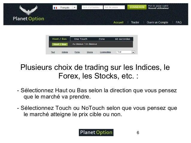 Plusieurs choix de trading sur les Indices, le Forex, les Stocks, etc.: - Sélectionnez Haut ou Bas selon la direction que...