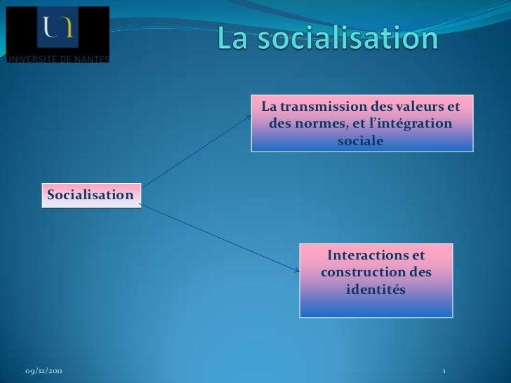 La transmission des valeurs et                      des normes, et l'intégration                                sociale   ...