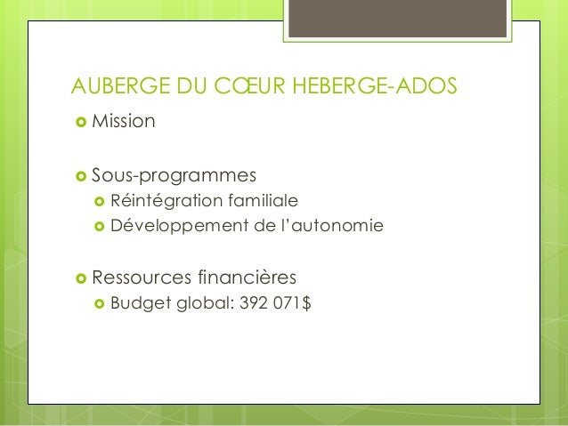 Devis d'évaluation, Auberge du coeur Heberg'Ados Slide 3