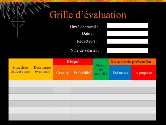 Pr sentation document unique - Grille d evaluation des risques professionnels ...