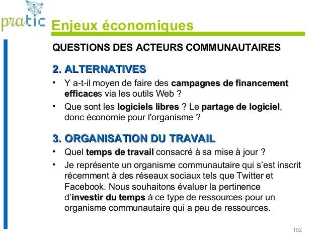102 QUESTIONS DES ACTEURS COMMUNAUTAIRES 2. ALTERNATIVES2. ALTERNATIVES • Y a-t-il moyen de faire des campagnes de finance...