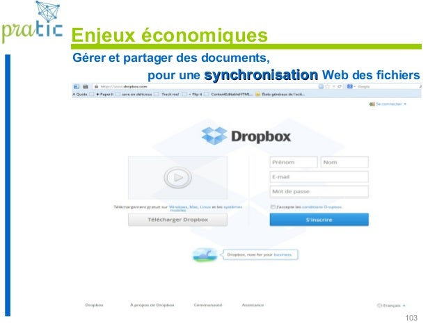 103 Gérer et partager des documents, pour une synchronisationsynchronisation Web des fichiers Enjeux économiques