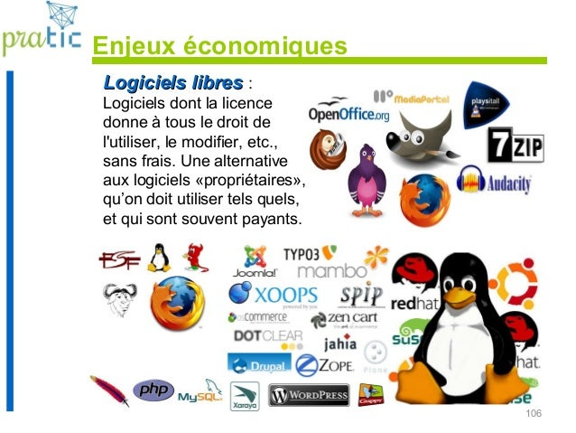 106 Logiciels libresLogiciels libres : Logiciels dont la licence donne à tous le droit de l'utiliser, le modifier, etc., s...
