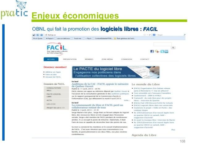 108 OBNL qui fait la promotion des logiciels libreslogiciels libres :: FACILFACIL Enjeux économiques