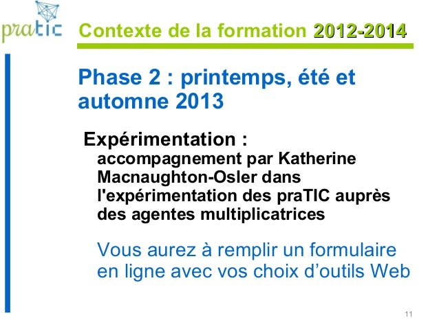 11 Contexte de la formation 2012-20142012-2014 Phase 2 : printemps, été et automne 2013 Expérimentation : accompagnement p...