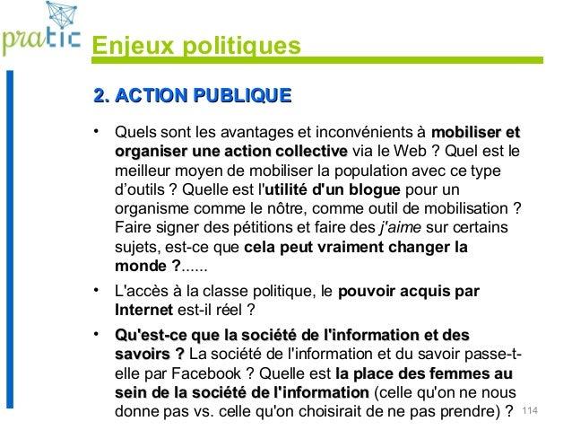 114 2. ACTION PUBLIQUE2. ACTION PUBLIQUE • Quels sont les avantages et inconvénients à mobiliser etmobiliser et organiser ...