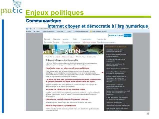 118 CommunautiqueCommunautique Internet citoyen et démocratie à l'ère numérique Enjeux politiques