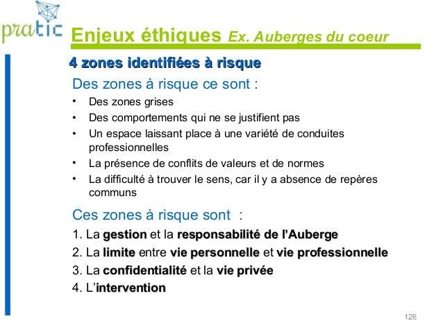126 Enjeux éthiques Ex. Auberges du coeur Des zones à risque ce sont : • Des zones grises • Des comportements qui ne se ju...