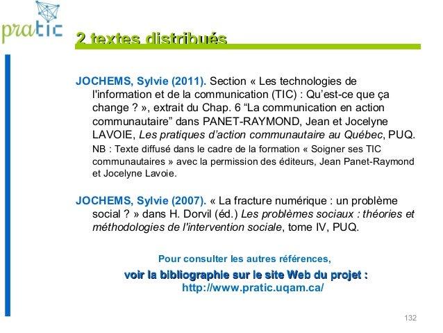 132 2 textes distribués2 textes distribués JOCHEMS, Sylvie (2011). Section « Les technologies de l'information et de la co...