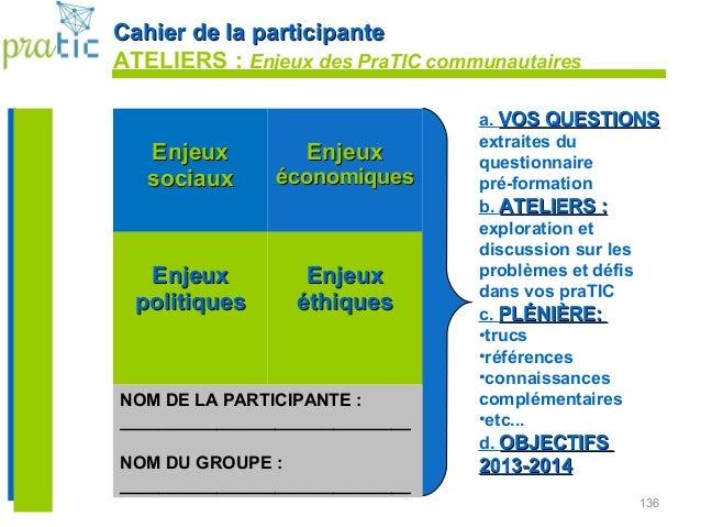 136 Cahier de la participanteCahier de la participante ATELIERS : Enjeux des PraTIC communautaires EnjeuxEnjeux sociauxsoc...